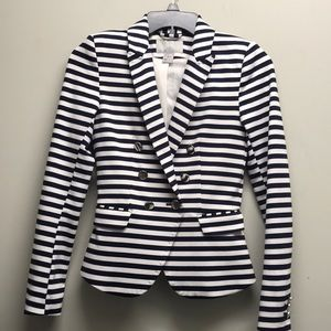 H&M navy blue white striped jacket blazer 2